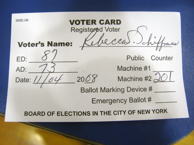My voter registration card