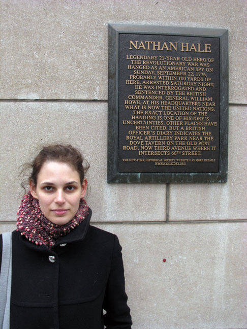 Rebecca Schiffman with Nathan Hale plaque